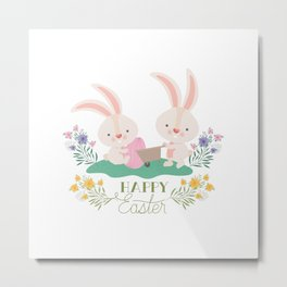 Happy Easter - Bunny Rabbits Eggs and Yellow, Purple Pink Flowers Metal Print