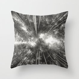 Bamboo Forest (Black and white) Throw Pillow