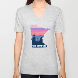 Up North Minnesota Blush Sunset Unisex V-Neck