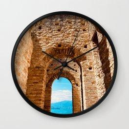 Roman villa, ancient Rome, Sirmione, lake Garda, Grottoes of Catullus Wall Clock