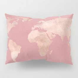 Rosegold World Map Sans Type Pillow Sham