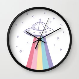 Colorful rainbow space ufo Wall Clock