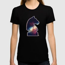Chess Player Horse Knight Abstract Galaxy Pattern T-shirt