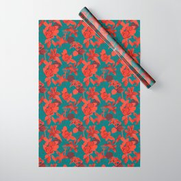 Linocut look in blue with roses Wrapping Paper