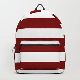 Maroon (HTML/CSS) - solid color - white stripes pattern Backpack