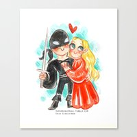 the princess bride Canvas Prints featuring Princess Bride Hug by Super Group Hugs