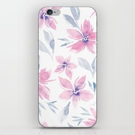 Blush and Grey Floral iPhone Skin