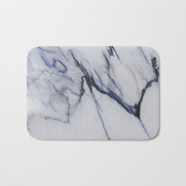 White Marble with Black and Blue Veins Bath Mat