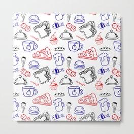 Food Hand draw pattern Metal Print
