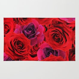Deep Red and Purple Roses Rug