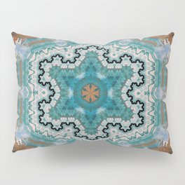 Aqua, Gold and Blue Tile 4 Pillow Sham