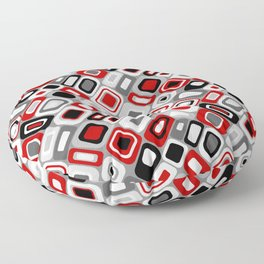 Diagonal Mid Century Modern Squares and Rectangles // Red, Gray Black, White Floor Pillow