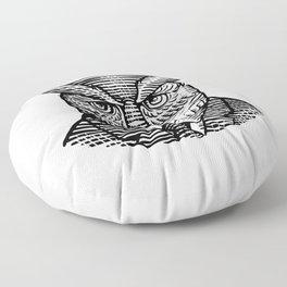 Hipster Owl Suit Woodcut Floor Pillow