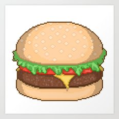 Cheeseburger Pixel Art Print