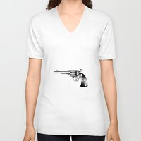 gun V-neck T-shirts featuring Gun by nohholmez