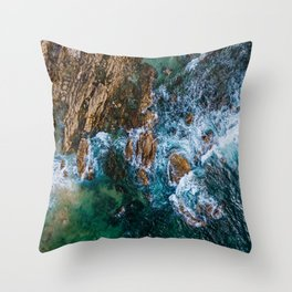Ocean Waves Crushing On Rocky Landscape, Drone Photography, Aerial Landscape Photo, Ocean Wall Art Throw Pillow