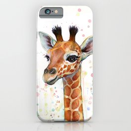Giraffe Baby Animal Watercolor Whimsical Nursery Animals iPhone Case