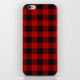 Red and black squares plaid print iPhone Skin
