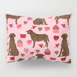 Chocolate Lab valentines day dog breed custom gifts for dog lover with labrador retrievers Pillow Sham
