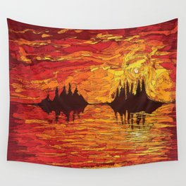 Raging Sunset Wall Tapestry