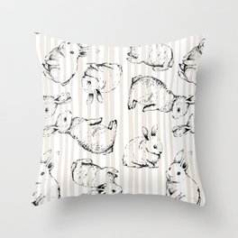 Vintage Bunnies Throw Pillow