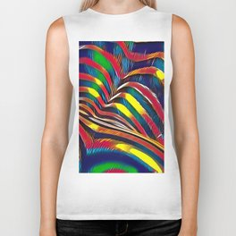 2602s-AK Nude Body Back Striped Abstraction Bright Color Pastel by Chris Maher Biker Tank
