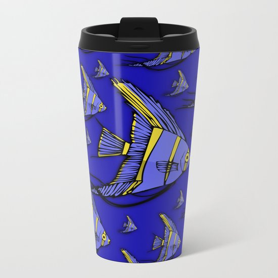 Angelfish Blue Metal Travel Mug