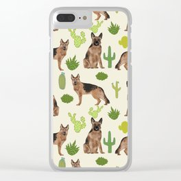 German Shepherd Cactus desert southwest dog lover gifts dog breed service dog Clear iPhone Case