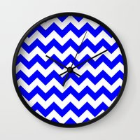 chevron Wall Clocks featuring Chevron (Blue/White) by 10813 Apparel