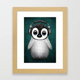 Cute Baby Penguin Dj Wearing Headphones on Blue Framed Art Print