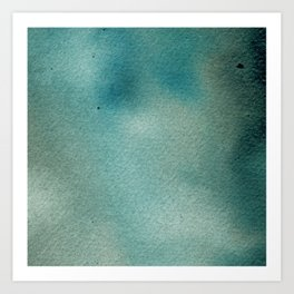 Hand painted blue teal abstract watercolor paint Art Print