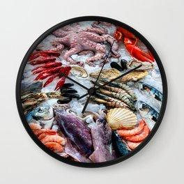 seafood on ice Wall Clock