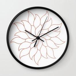 Mandala Flowers Rose Gold on White Wall Clock