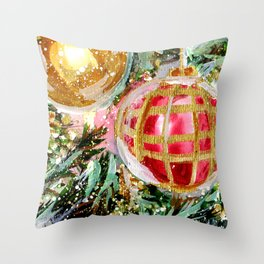 Christmas Tree Ornaments Close Up Throw Pillow