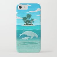 manatee iPhone & iPod Cases featuring Manatee Island by Lidra