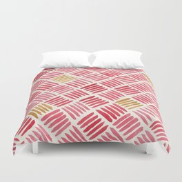 Red and Ochre Basketweave Duvet Cover