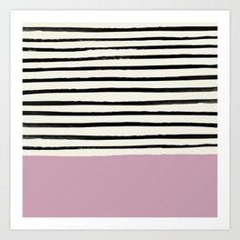 Dusty Rose & Stripes Art Print