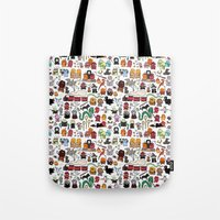 kawaii Tote Bags featuring Kawaii Harry Potter Doodle by KiraKiraDoodles