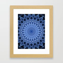 Cold blue mandala Framed Art Print