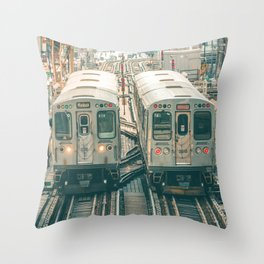 Two El Trains Above Wabash in Chicago Train Subway Elevated Throw Pillow