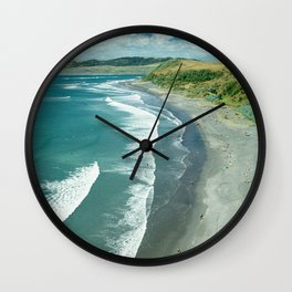 The famous Raglan beach, New Zealand Wall Clock