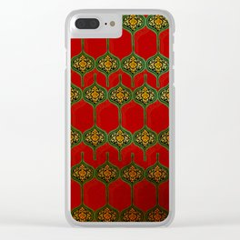 Yemen traditional patterns red Clear iPhone Case