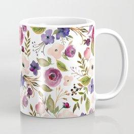 Violet pink yellow green watercolor modern floral pattern Coffee Mug