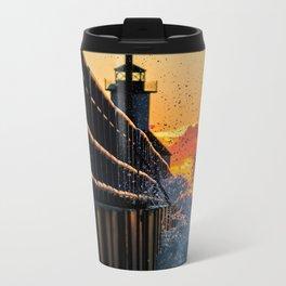 Sunset SPLASH At The Lighthouse Metal Travel Mug