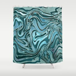 Liquid Glamour Luxury Turquoise Teal Watercolor Art Shower Curtain