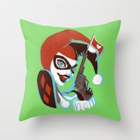harley quinn Throw Pillows featuring Harley Quinn by Piano Bandit