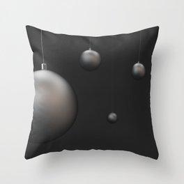 Set of silver christmas balls Throw Pillow