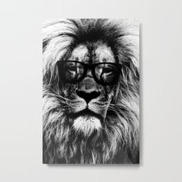Hipster lion black and white Metal Print