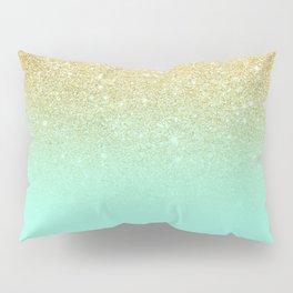 Modern gold ombre mint green block Pillow Sham