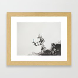 Robot and Bird Framed Art Print